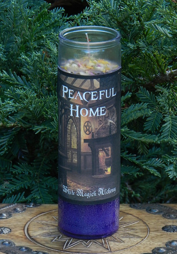 Peaceful Home Ritual Spell Jar Vigil Candle . Banishing Negative Energy Flows
