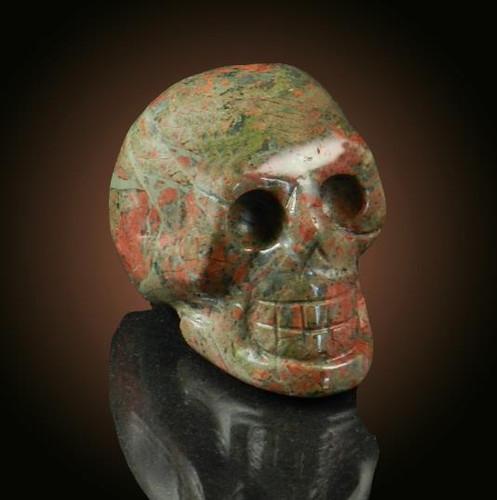 Unakite Gemstone Skull