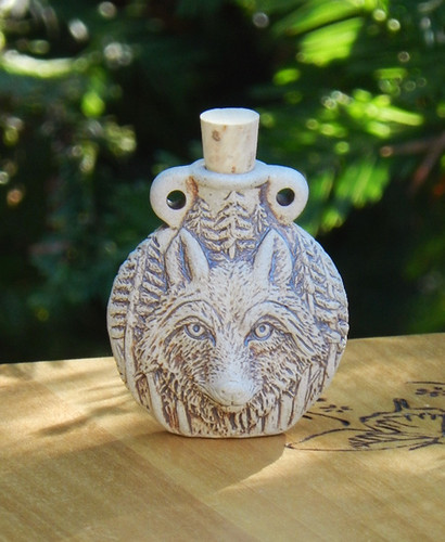 *Wolf Ceramic Bottle Natural . Spell Oils, Diffuser, Ashes, Pendant