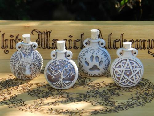 *Tree of Life Ceramic Bottle Natural . Spell Oils, Diffuser, Ashes, Pendant