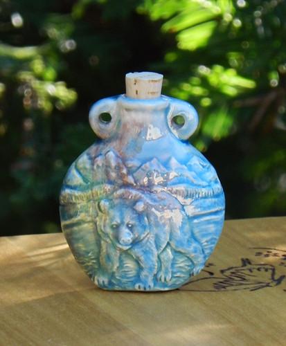 Bear Ceramic Bottle . Spell Oils, Diffuser, Ashes, Pendant