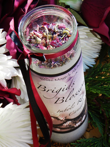 Brigids Blossoms Imbolc Glass Vigil Candles for Flourishing Abundance, Renewal, Fertility