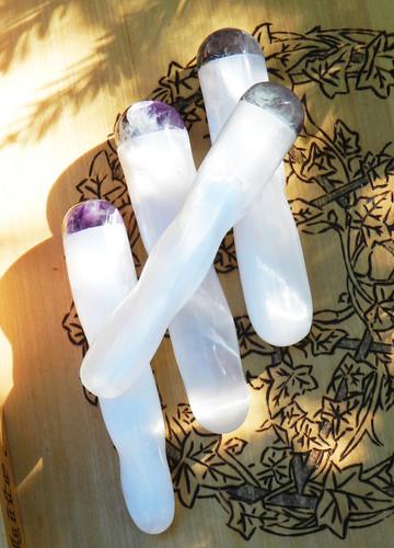 Selenite Fluorite Gemstone Twist Wands for Healing, Intuition, Dispelling Blockages