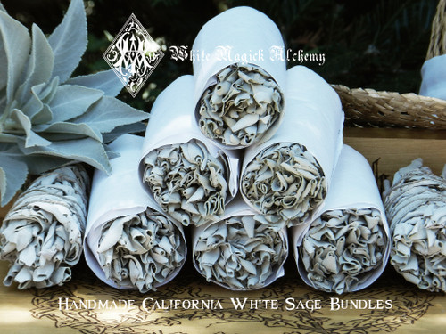 "California White Sage Handmade Smudge Wand 6"" for Cleansing and Clearing the Home of Negativity, Spiritual Cleansing, Banishing, Protection"