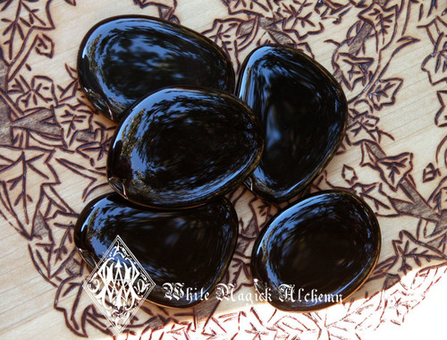 Black Obsidian Gemstone Flat Large Palm Stones for Stress, Negativity