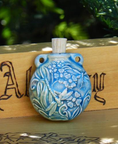 Dragonflies in the Garden Ceramic Bottle . Spell Oils, Diffuser, Ashes, Pendant