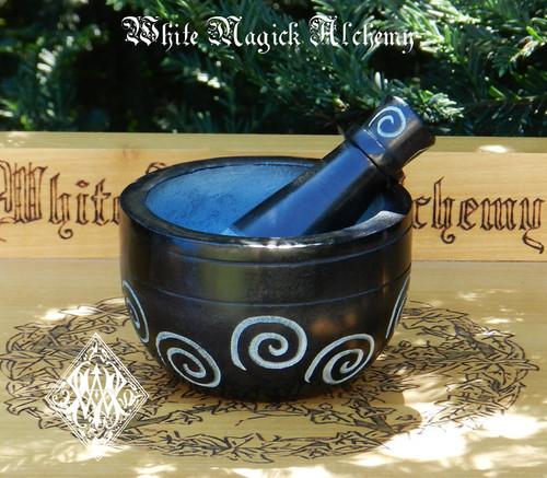 Black Stone Spiral Mortar and Pestle Set