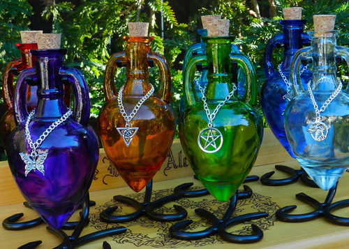 Potion Bottle Vessel with Metal Stand Amphora Bottle