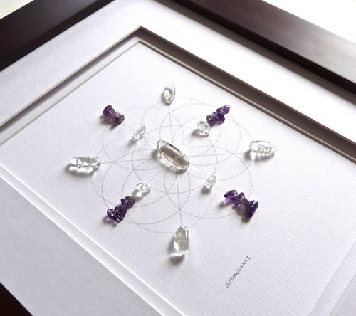Crystal Grid BUSINESS SUCCESS with Amethyst and Crystal Quartz