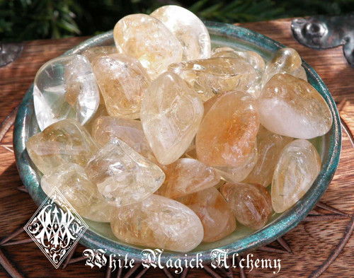 Citrine Tumbled Gemstones  Medium Set of Two . Success, Business, Prosperity, Luck, Healing, Clearing and Absorbing Negative Energies