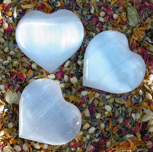 "Selenite Gemstone Heart Medium 3"""