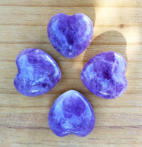 Amethyst Gemstone Heart . Healing, Love, Peace, Change
