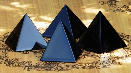 "Black Obsidian Crystal Gemstone Pyramid 1.75"" . Negative Energies, Stress and Anxiety"