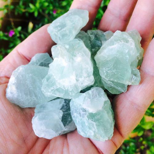 Green Fluorite Raw Gemstones Jumbo Set of 3