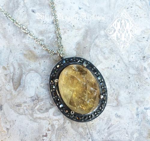 Princess Pendants in Labradorite, Citrine & Amethyst Gemstone Pendants in Silver with Marcasite
