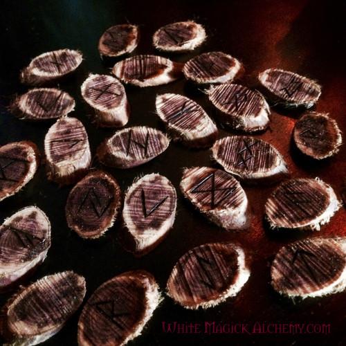 Cedar Wood Elder Futhark Viking Rune Set