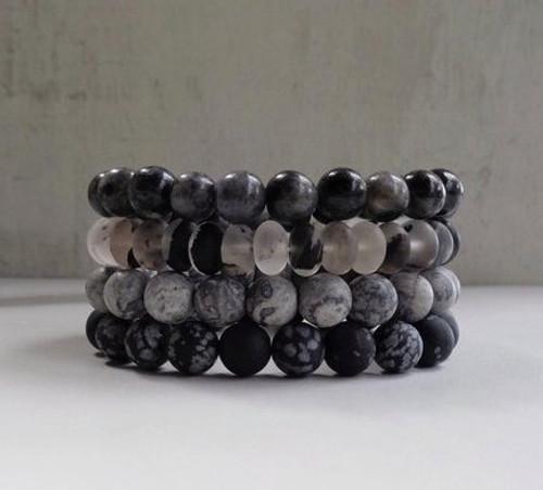 Labradorite, Quartz, Jasper & Snowflake Obsidian Boho Bracelet Stack of Four