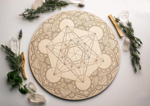 "Sacred Geometry Metatron's Cube Mandala Wooden Crystal Grid Altar Board Large 14"""