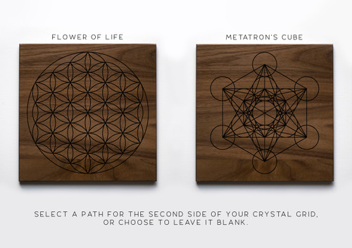 "Sacred Geometry Flower of Life or Metatron's Cube with Mandala 7"" Walnut Crystal Grid Altar Board"