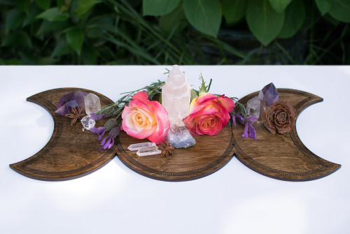 Triple Goddess Moon Shrine Wooden Altar Crystal Board - Maiden, Mother & Crone