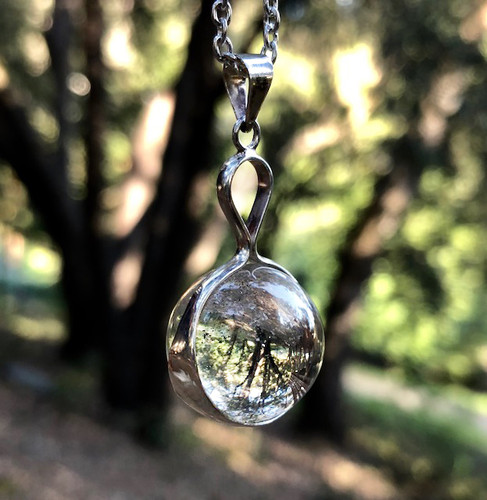Quartz Crystal Scrying Ball Pendants in Sterling Silver