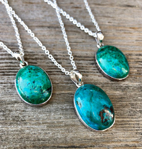 Chrysocolla Pendant Necklaces - The Amulet of the Goddess