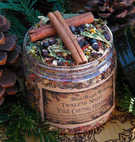 Twelfth Night Casting Herbs for Yule Bonfires, Winter Solstice, Traditional Woods, Fruits and Berries