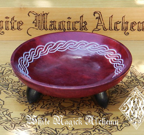 Bordeaux Red Celtic Knot Stone Offering Smudge Incense Bowls