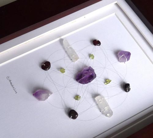 Crystal Visions Crystal Grid with Amethyst, Peridot, Garnet and Crystal Quartz