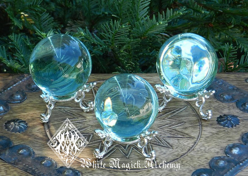 Aqua Aura Obsidian Spheres for Communication, Truth, Spirituality, Protection