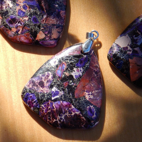 Imperial Agate and Pyrite Pendants