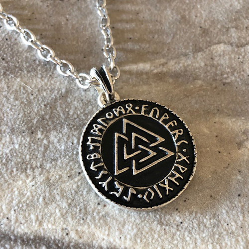 Sterling Silver Valknut Necklace Pendant