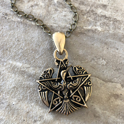 Pentacle & Phoenix Firebird Amulet Pendant Necklace in 24K Gold