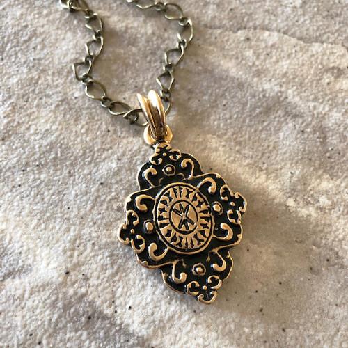 Hagall Runenkruez Norse Rune Amulet Pendant Necklace in 24K Gold