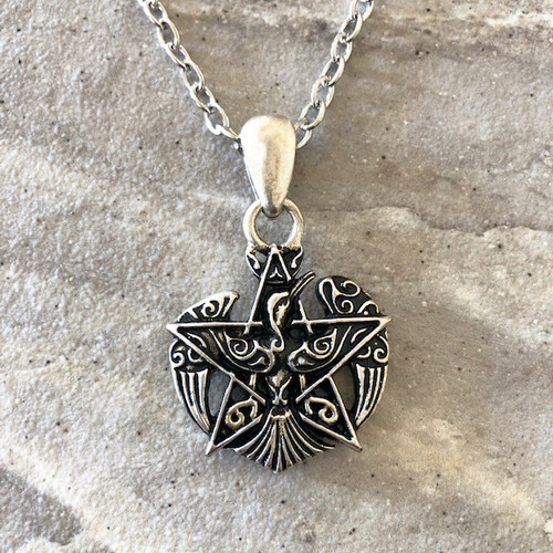 Pentacle & Phoenix Firebird Amulet Pendant Necklace in 925 Silver Viking Jewelry