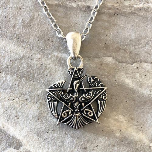 Pentacle & Phoenix Firebird Amulet Pendant Necklace in 925 Silver Viking Jewelry