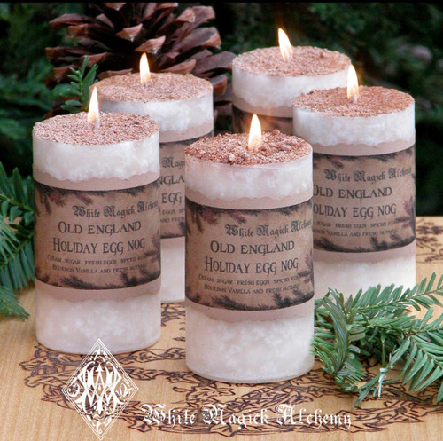 Old England Eggnog Candles with Cream, Sugar, Spiced Rum & Bourbon Vanilla Topped with Fresh Nutmeg