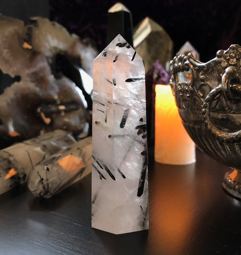 Rutilated Quartz Standing Generators with Black Tourmaline Rutiles