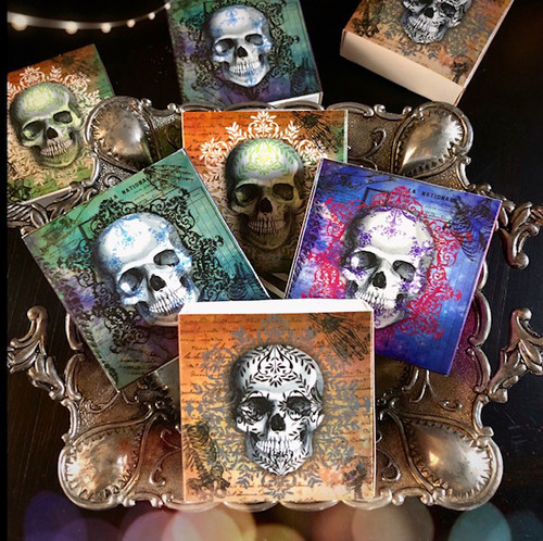 Skull Match Box with Wooden Matches