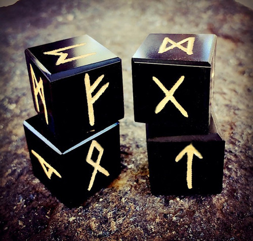 Black Obsidian Square Runestones, Elder Futhark, Set of 4 Viking Rune Dice