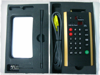 The multi-function transmitter is a dual frequency, multi-functional transmitter. Included with the transmitter is a hard case, antenna, two keys, and USB charging cord.