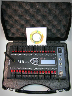 Included with the MB32Q firing system is the MB32Q receiver, plastic case, manual remote, 2 keys, antenna, external battery wire, and software.