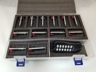 The AlphaFire C12Q kit includes a case, twelve AlphaFire modules, and 100 meter manual remote.