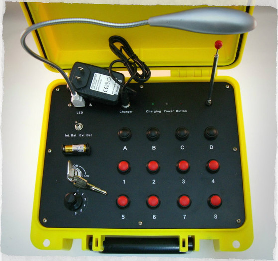 Included with the transmitter is a 2.3 ah sla 12 volt rechargeable battery, sla battery charger, two keys, 6 place rotary code switch, and LED gooseneck light. A yellow SE300 case is standard.