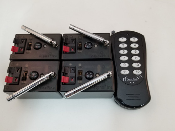 The AlphaFire 4 cue kit includes four AlphaFire modules and a TCF100-LN 100 meter manual remote.