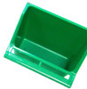 Green color 36072 Medium high back universal hanging cup is made of plastic and can either hold water or food.