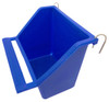 Blue color 36072 Medium high back universal hanging cup is made of plastic and can either hold water or food.