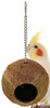 1683 Coco Home, a natural full coconut shell is suspended on a chain with a quick link attached great toy for small birds.