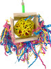 1795 Balsa Box is a foraging delight for your medium-sized feathered friend, a colored foraging vine ball is boxed with balsa wood slats and decorated with colored crinkly paper.