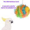 The 2184 Rainbow Coco from Bonka Bird Toys is a colorful and natural way for your pet to shred and forage. This excellent straightforward bird toy has coconut fiber!